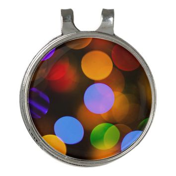 Multicolored Christmas lights. Golf Hat Clip