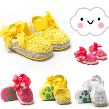 Cute Newborn Baby Girls Sandals Anti-slip Crochet Knitting bow-knot Soft Sole Infant Toddler Princess Footwear Shoes