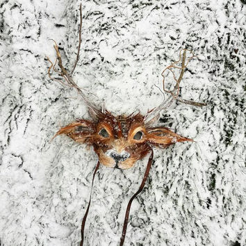 Luxury Deer Mask, Woodland Deer Mask, Reindeer Mask, Festival Antler Headdress, Masquerade Animal Mask, Christmas Mask, Halloween Mask