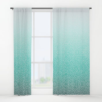 Ombre turquoise blue and white swirls doodles Window Curtains by Savousepate