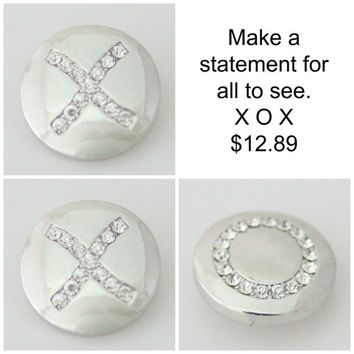 X O X matching rhinestone snaps. Snap button charms are 20mm will fit Noosa or Ginger snap Bracelet