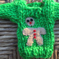 Broken Gingerbread Man Ornament, Mini Sweater with half-eaten ginger bread man, Holiday decor, gifts for kids, funny ornament, joke gift