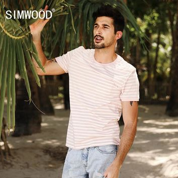 SIMWOOD 2017 Summer New Fashion T Shirt Men Striped 100% Pure Cotton Slim Fit Plus Size Breton Top Brand Clothing TD017062