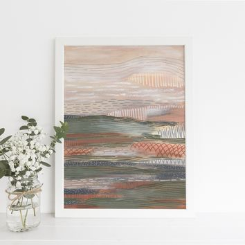 Neutral Abstract Painting Desert Landscape Wall Art Print