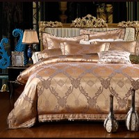 luxury european style classic cotton jacquard 4pcs 6pcs hotel pillowcase bed sheet bedclothes duvet cover set bedding set