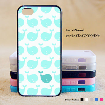 Green Cute Whale Phone Case For iPhone 6 Plus For iPhone 6 For iPhone 5/5S For iPhone 4/4S For iPhone 5C iPhone X 8 8 Plus
