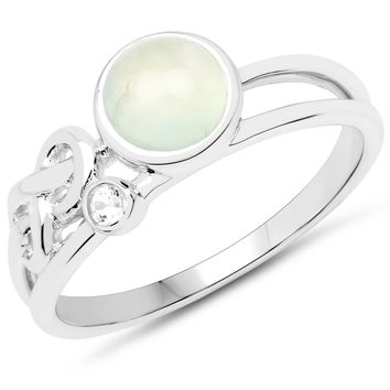 LoveHuang 1.01 Carats Genuine Prehnite and White Topaz Ring Solid .925 Sterling Silver With Rhodium Plating