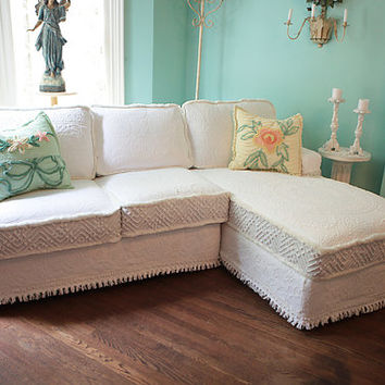 shabby chic sectional sofa vintage matelasse bedspread slipcover white custom made new cottage prairie