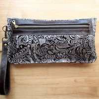 Black and silver leather clutch, bag, wristlet, purse, iPhone case, zipper pouch