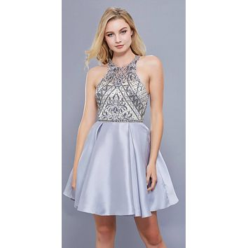 Silver-Nude Illusion Halter Beaded Top Homecoming Short Dress
