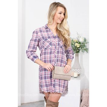 Pink Navy Frayed Plaid Dress