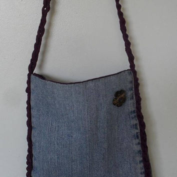 Up-cycled Small Tote Bag Purse from denham crochet recycled strap lined inside