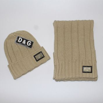 Day-First™ D&G Women Men Winter Knit Hat Cap Scarf Set Two-Piece