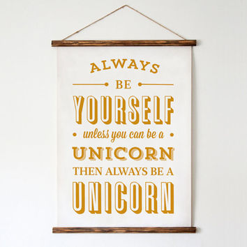 Typography Print Quote Print White Gold Unicorn by paperchat