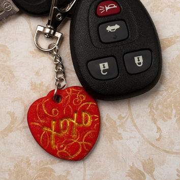 XOXO Valentine's Day Heart Keychain, Love Polymer Clay Key Chain, Red and Gold Car Fob, Hugs and Kisses Stamped Valentine Gift, Upcycled Tag