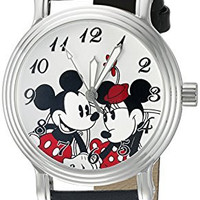 Disney Mickey Mouse Women's W002335 Mickey Mouse and Minnie Mouse Analog Display Analog Quartz Black Watch