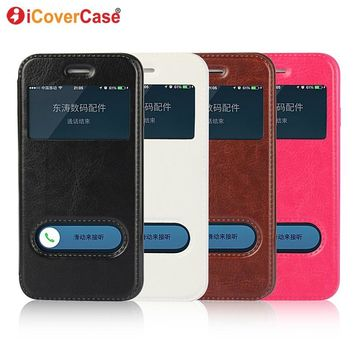 Flip Cover For iPhone 8 7 Plus 5s 5 SE Window View Case Quick Answer Smart Leather Etui For iPhone 6 6s Plus Phone Coque Hoesjes