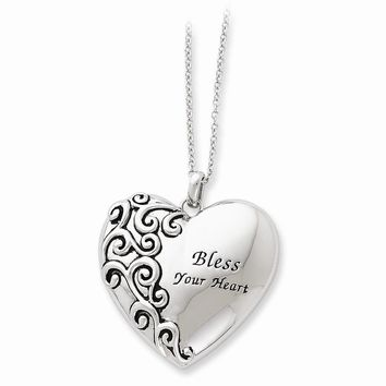 Sterling Silver Antiqued Bless Your Heart 18in Necklace