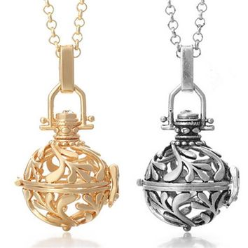 Fashion Pendants Necklace Chain Cage Angel Ball Necklace 6 Colors Ball Metal Pregnancy Ball in Pendants Baby Chime Necklace