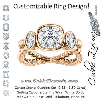 Cubic Zirconia Engagement Ring- The a Malisa (Customizable 3-sto dec243378f75