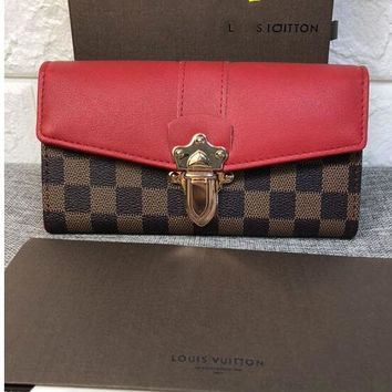 LV Fashion Women Shopping Bag Louis Vuitton Lock Contrast Coffee Tartan Wallet Shoulder Bag B-OM-NBPF Red