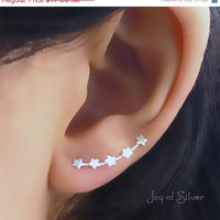 ON SALE One Pair 925 Sterling Silver Star Ear Pins 5 Stars for Single-Pierced Ears (921)