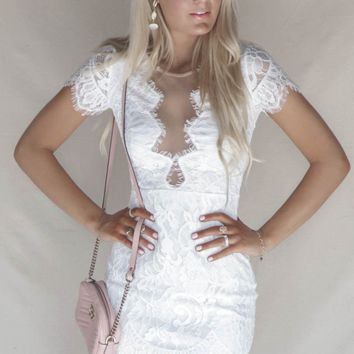 Fast Love White Lace Mini Dress