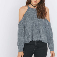 Urban Outfitters Cosy Cold Shoulder Grey Top - Urban Outfitters