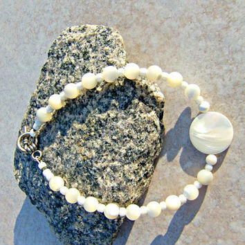 Bridal MOP Bracelet, Shell Jewelry,Chakra Jewelry, Beach Jewelry, Direct Checkout