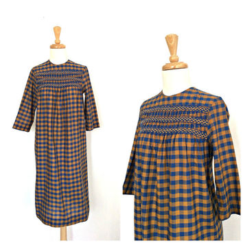 Vintage Checkered Dress - smocked dress - fall dress - midi - 60s dress - Small