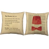 Just The Doctor Fez Bow Tie Throw Pillows
