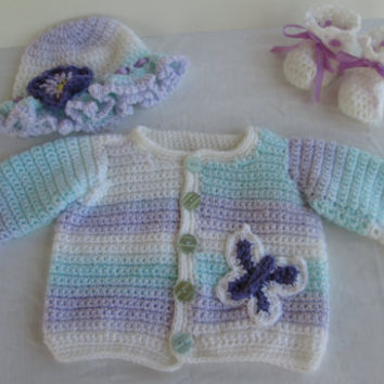 Crochet Baby Girl Sweater Set wtih Hat and Booties - Purple, Blue, and White Layette Set
