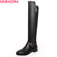 MORAZORA Plus size 34-42 pu+genuine leather boots buckle zipper square heel autumn winter knee high boots fashion ladies shoes