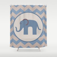 Baby Blue Chevron Elephant Shower Curtain by UMe Images