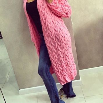 Pink Long Sleeve Acrylic Fashion Cardigan Sweater