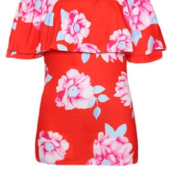 Coral Ruffle Off Shoulder Floral Womens Top