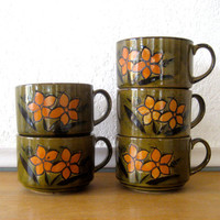 Vintage Set of Stoneware Mugs Green and by nellsvintagehouse