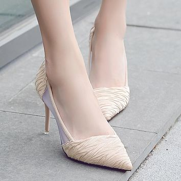 Mesh Patchwork Pointed Toe Low Cut High Stiletto Heel Party Shoes