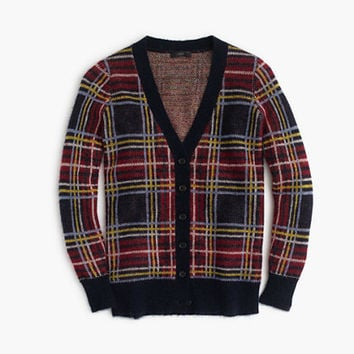 J.Crew Womens Brushed Wool-Blend Plaid Cardigan Sweater