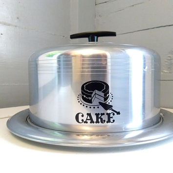 Vintage, Cake Carrier, Cake Keeper, West Bend, Aluminum, Kitchen Decor, Baking, Silver, Black, Photo Prop, MidCentury,  RhymeswithDaughter