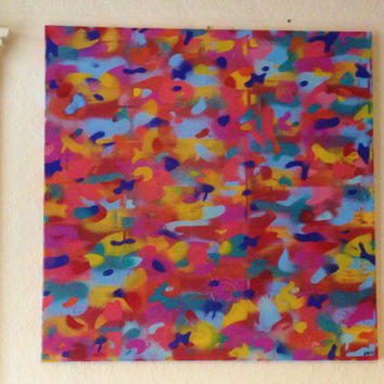 abstract rainbow camo painting on 30 by 30 inch canvas,camouflage,stencil & spraypaints,colour,large,gift,wall art,europe,graffiti,pop