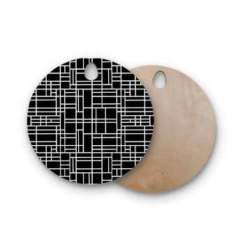 """Project M """"Map Outline Black"""" Simple Geometric Round Wooden Cutting Board"""