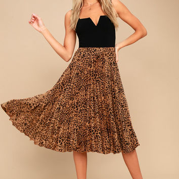 Roxie Leopard Print Pleated Midi Skirt