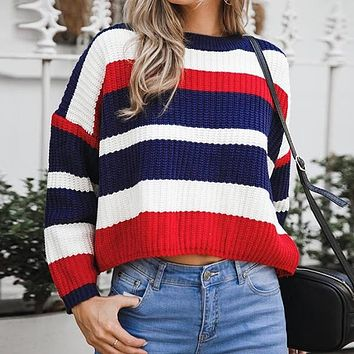 Casual Loose Striped Sweater Women Long Sleeve Knitted Short Sweater Jumper Harajuku 4 Colors Pullover