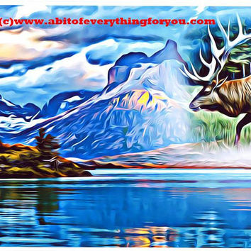 "abstract bull Elk animal spirit Art Print abstract landscape art abstract lake trees art surreal art nature wildlife artwork 8"" x 10"""