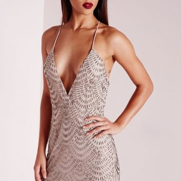 Missguided - Premium Plunge Scallop Embellished Mini Dress Taupe