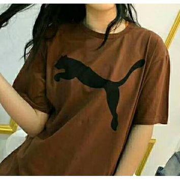 Puma fashionable printed T-shirt in plain color and short sleeve front N-AG-CLWM