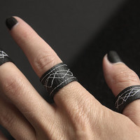 Handmade Faux Leather Ring, Black with white pattern