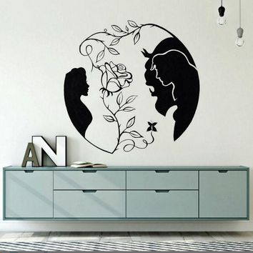 Home Decor Beauty and the Beast Vinyl Wall Decal New Design Rose Wall Sticker Inspired Love Wall Art Mural Bedroom Decals AY1606