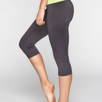 Full Tilt Sport Womens Capri Leggings Charcoal  In Sizes